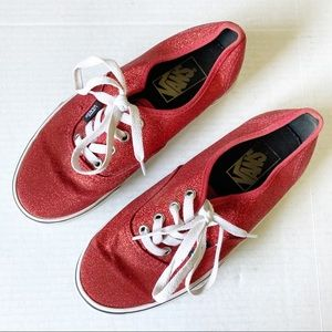 Vans Bright Red Glitter Low Top Lace Up Sneakers
